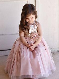 [Flower girl dress] - Just Unique Boutique Vestido Rose Gold, Silk Flowers, Bodice, Tulle, Flower Girl Dresses, Sequins, Wedding Ideas, Boutique, Princess