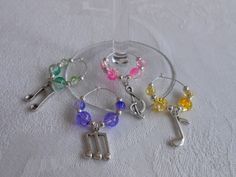 Music themed wine glass charms – lots of colour options