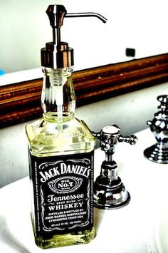 What a creative use of a liquor bottle! Wouldn't this soap dispenser look great in a gameroom  bathroom or basement? A tutorial that involves a fun night of drinking, what could be better? This would make a great bachelorette/ bachelor party gift too!Helen, from Curly Birds, came up with this …