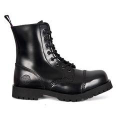Black Leather 8-eye Combat Boots