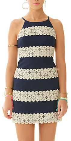 darling navy blue and cream shift dress