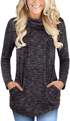 58b45975c6 Faddare Women s Cofy Cowl Neck Space Dye Activewear Sweatshirt with Pockets