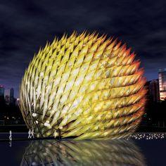 Giant Architectural 'Golden Moon' Lantern Lights Up Hong Kong's Mid-Autumn Festival - amelia Temporary Architecture, Futuristic Architecture, Amazing Architecture, Architecture Design, Pavillion Design, Salt Art, Geodesic Dome, Mid Autumn Festival, Built Environment