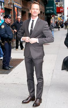 Neil Patrick Harris channeled Barney Stinson in a well-fitting suit outside New York's Ed Sullivan Theater before a taping of the Late Show With David Letterman on March 30.