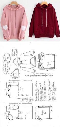 Blusa moletom com capuz feminina Easy Sewing Patterns, Clothing Patterns, Dress Patterns, Fashion Sewing, Diy Fashion, Fashion Outfits, Sewing Clothes, Diy Clothes, Barbie Clothes