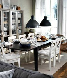 Black and White Dining Room Design Ideas 2012 by IKEA (Love the two big lights over the table. Ikea Dining Room, Dining Room Storage, Dining Room Hutch, Dining Room Design, Dining Room Furniture, Dining Chairs, Dining Area, Ikea Furniture, Ikea Table