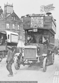Photo of Battersea, Motor Bus from The Francis Frith Collection London History, Local History, British History, London Transport, Mode Of Transport, Vintage London, Old London, Old Pictures, Old Photos