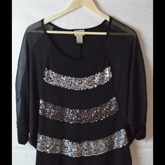 Black Blouse with Silver Sequins Sheer Bat Wing Sleeves...Like New...Only Worn Once Eyelash Couture Tops Blouses