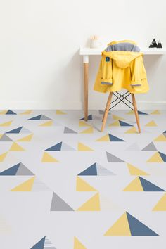 Montana is a Triangle Modern Vinyl Flooring design that features geometric triangle shapes in bold charming blue yellow and grey colours against a mMo… – Renovation – definition of renovation by The Free Dictionary Vinyl Flooring Bathroom, Vinyl Tiles, Vinyl Plank Flooring, Rubber Flooring, Kitchen Flooring, Garage Flooring, Bedroom Flooring, Modern Flooring, Grey Flooring