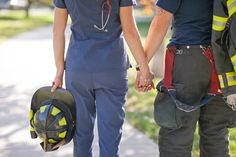 Skyrise Denver Engagement Shoot - a firefighter and a nurse
