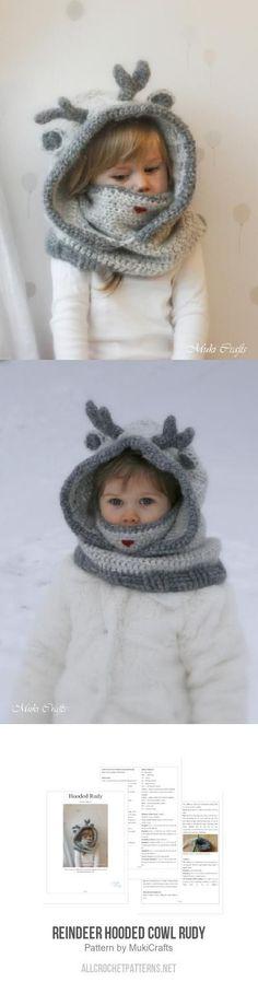 Reindeer hooded cowl Rudy crochet pattern