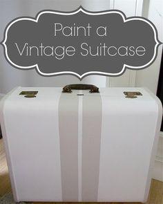 paint vintage suitcase: frog tape stripes