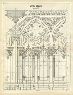 This is a wonderful Architecture Printable of Gothic Arches! This is one that I've scanned from an Antique Architecture Book!