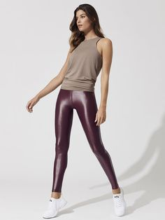 Rally Tank Tops in Portabella Lycra Leggings, Shiny Leggings, Faux Leather Leggings, Tight Leggings, Equestrian Girls, Yoga Pants Girls, Evolution Of Fashion, Modern Fashion, Fashion Outfits