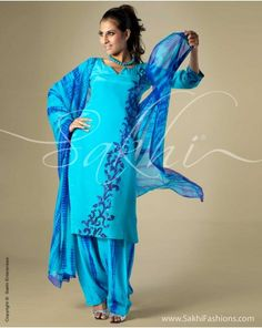 Flowing Crepe silk Salwar Kameez and Chiffon Dupatta in Turquoise blue featuring Shibori Dyeing and Sequins work in Floral motif. Code: CD-0002  http://www.sakhifashions.com/salwar/crepe-embroidery-salwar-in-blue-tone-perfect-for-summer.html