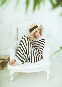 stripey dress and hat #stripes #clothing #summer