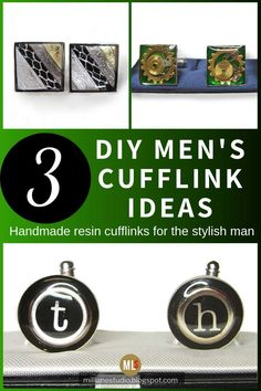 What a fantastic gift for the man in your life! Make him a pair of personalised cuff links using UV resin. It's a quick project because the resin cures fast but it looks really classy. Just include small trinkets in the resin that suit his personality. #MillLaneStudio #uvresinproject #howtomakecufflinks #diygiftsformen #personalisedcufflinks