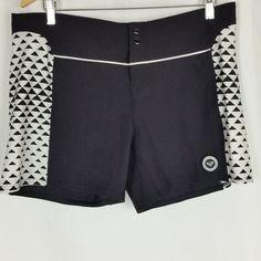 e88d8211f79cb Roxy Womens Board Shorts Size 13 Black White Surf Swim Snap Buttons Hook  Loop #ROXY