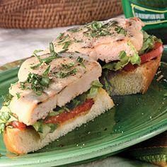 Open-Faced Mediterranean Grilled Chicken Sandwiches   MyRecipes.com #myplate #protein #grain #vegetable