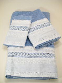 Hostess Guest Towel Set Bath Hand Wash Cloth Hand Embellished Blue White Eyelet Lace Ruffles Chiffon Bows Pearls