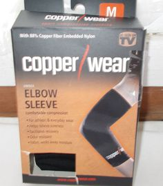 New Copper Wear Unisex Sport Compression Sleeve Black Elbow Medium #Copperwear