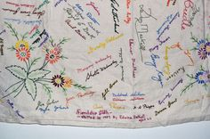Friendship tablecloth... have visitors sign their name, then embroider over it. Would be a sweet thanksgiving tradition if you had people write what they were thankful for...