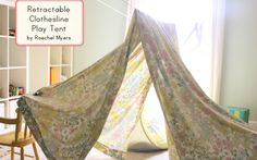Easy tent (simply drop a sheet over rétractable clothesline).