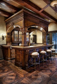 Amazing detail in this pub style rec room bar!