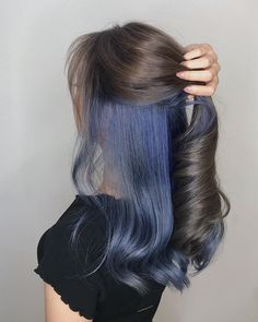 Underneath Dyed Hair Color Ideas For Brunettes - xfitculture.com Under Hair Dye, Under Hair Color, Hidden Hair Color, Hair Color For Black Hair, Two Color Hair, Hair Color For Brunettes, Peekaboo Hair Colors, Darker Hair Color Ideas, Dyed Black Hair