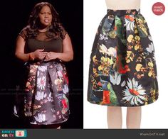 Mercedes's floral pleated skirt on Glee.  Outfit Details: http://wornontv.net/47103/ #Glee