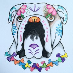 My first drawing of a bulldog in Sugar Skull art style. I love drawing and bulldogs are my favorite. See more my bully art on Instagram, FB and Twitter under the name ArtisticBulldog. Or visit my Etsy store www.etsy.com/shop/artisticbulldog