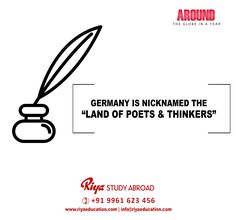 STUDY IN GERMANY!!! The Land of ideas is also Known as the land of poets and thinkers.Visit our website for more information on overseas education http://riyaeducation.com/ #riyastudyabroad