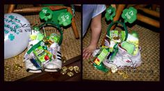 Leprechaun leaves treasures in your shoes! (green juice boxes, headbands, shampoos, coins, etc...)