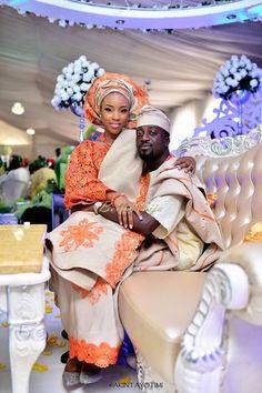 Nigerian Yoruba bride in orange/gold lace and Aso Oke. Groom in Agbada and Fila (cap on head ) Nigerian Wedding Dress, Nigerian Bride, Nigerian Weddings, African Weddings, Nigerian Traditional Wedding, Traditional Wedding Attire, Traditional Weddings, Traditional Ideas, African Love