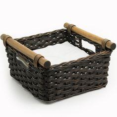 Wicker Pole Handle Napkin Basket in Antique Walnut Brown from The Basket Lady Newspaper Basket, Newspaper Crafts, Paper Furniture, Wicker Furniture, Willow Weaving, Basket Weaving, Basket Tray, Basket Crafts, Paper Weaving