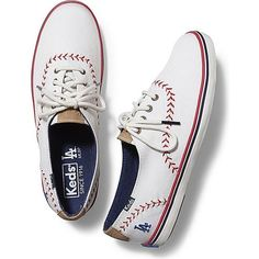 Keds CHAMPION MLB PENNANT ($60) ❤ liked on Polyvore featuring shoes, sneakers, dodgers, vegan footwear, keds sneakers, faux leather shoes, vegan leather shoes and dodger shoes