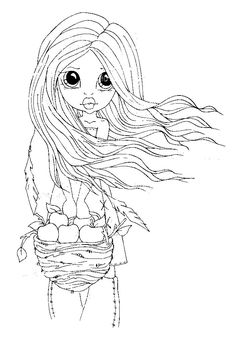 Girl with basket of apples Coloring Pages For Girls, Coloring Book Pages, Printable Coloring Pages, Coloring Sheets, Creation Art, Printable Pictures, Planner, Copics, Digital Stamps