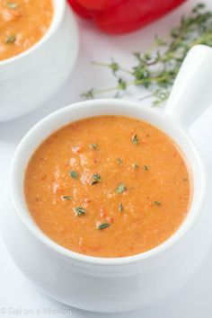An out-of-this-world delicious cauliflower roasted red pepper soup recipe! This will be your new favorite soup!