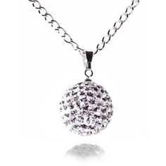 Fizzball Collection Crystal Ball Necklace Silver - 4EverBling