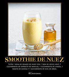 #Bebida #Smoothie de #Nuez...   Licúa 1 bola de helado de nuez con 1 taza de leche light, 1 cucharadita de extracto de vainilla, 1 cucharadita de linaza, 1 ramita de canela y 1 cucharadita de miel de abeja.  @candidman