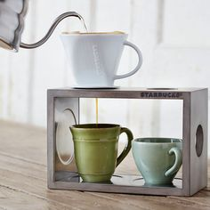 Wood Pour Over Stand and #4 Cone Set - Grey Whitewash $39.95 at StarbucksStore.com
