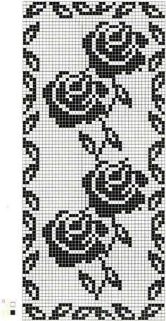 Roastbeef rubato Four Roses Filet Crochet Charts, Crochet Diagram, Knitting Charts, Crochet Motif, Crochet Doilies, Crochet Stitches, Cross Stitch Pattern Maker, Cross Stitch Patterns, Modern Crochet Patterns