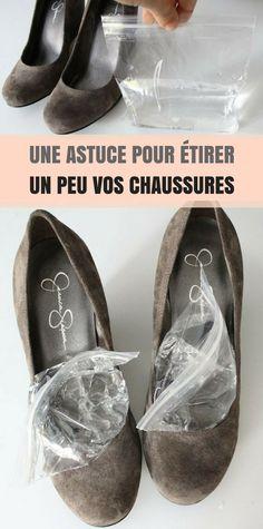 Une jolie paire de chaussures ne vaut rien si vous ne pouvez pas la porter ! Je plaide coupable, j'ai un placard rempli de chaussures que je porte rarement. Je suppose que le confort triomphe toujours du style. Mais voici une astuce pour étirer un peu vos chaussures ! Remplissez 2 sacs zip à moitié d'eau, mettez-en un dans chacune de vos chaussures, puis placez-les dans le congélateur toute la nuit. Répétez si nécessaire. Et voilà!