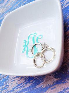 Monogram jewelry tray... Monogram jewelry holder... Monogram jewelry tray- 3 font choices.. NEW item SALE - 3.00 off on Etsy, $8.00