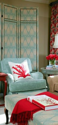 Turquoise Cottage, Red Home Decor, Tropical Style, Living Room, Architecture, Chic, Beach, Blue, Arquitetura
