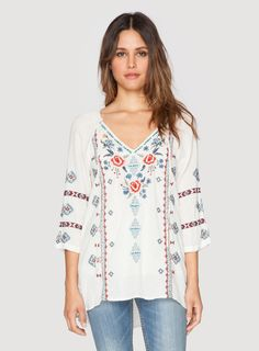 Johnny Was Clothing 3J Workshop embroidered cotton SYRAH DRAWSTRING NECK TOP in Sand Beige