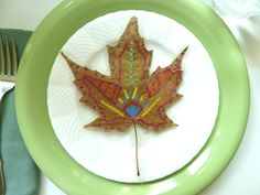 Painted Leaf Place Card by DonnaErickson.com https://www.facebook.com/pages/Donnas-Day/10150143749885235