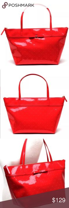 Kate Spade Sophie Camellia Street Tote bag NWT Kate Spade Sophie Camellia Street Tote bag Chilired MSRP $198 This polka dot embossed tote, fashioned from glossy patent leather, completes a street-chic look, thanks to its timeless design and ample storage space.  18'' W x 11'' H x 7'' D 8'' shoulder drop Outer: patent leather Lining: polyester Zip closure Interior pockets: one zip kate spade Bags Totes