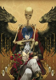 Kaito and a Skeleton Dude Demon Manga, Manga Anime, Fanarts Anime, Manga Boy, Anime Characters, Anime Art, Art Kawaii, Anime Kawaii, Hatsune Miku