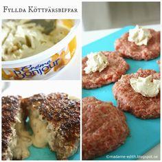 Köttfärsbiffar fyllda med creme bonjour kantarell - Fantastiskt gott Receptet ger 8 st biffar (Tips! Provstek lite köttfärssmet för a...